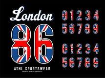 Bandeira ajustada Reino Unido do número de Londres ilustração stock