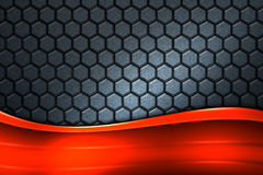 Bandeira alaranjada no hexágono cinzento da fibra do carbono Foto de Stock