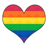 Bandeira alegre do arco-íris na forma do coração Fotografia de Stock Royalty Free