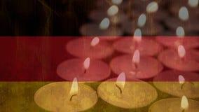 Bandeira alemão atrás das velas ilustração do vetor
