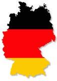 Bandeira alemão na ilustração do mapa do país Fotos de Stock