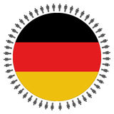 Bandeira alemão redonda com povos Imagem de Stock