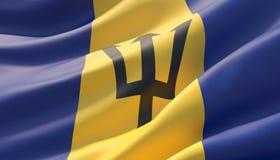 Bandeira altamente detalhada acenada do close-up de Barbados ilustra??o 3D ilustração stock