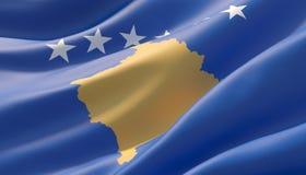 Bandeira altamente detalhada acenada do close-up de Kosovo ilustra??o 3D ilustração royalty free