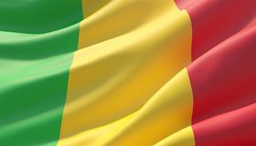 Bandeira altamente detalhada acenada do close-up de Mali ilustra??o 3D ilustração stock