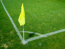 Bandeira amarela no canto Foto de Stock Royalty Free