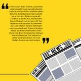 Bandeira amarela temático de papel da notícia ilustração stock