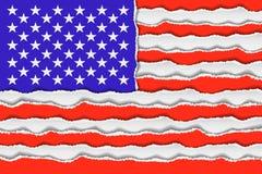 Bandeira americana abstrata do papel torned ilustração do vetor