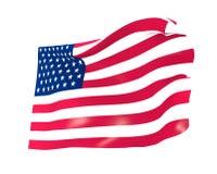 Bandeira americana, bandeira dos EUA no fundo branco Imagens de Stock Royalty Free