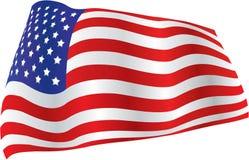 A bandeira americana billowed no vento Imagem de Stock