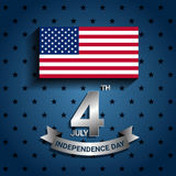 Bandeira americana com a fita para para o Dia da Independência de EUA Imagens de Stock Royalty Free