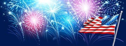 Bandeira americana com fogos-de-artifício Vetor Fotos de Stock