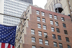 Bandeira americana com fundo do nyc Imagem de Stock