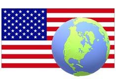 A bandeira americana com um globo de seu lugar geological no primeiro plano ilustração stock