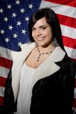 Bandeira americana da menina Imagens de Stock