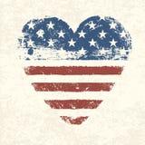 Bandeira americana dada forma coração. Imagem de Stock