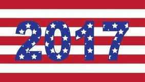 Bandeira americana de ano novo feliz 2017 Imagens de Stock Royalty Free