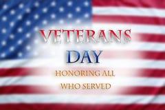 Bandeira americana de dia de veteranos Foto de Stock Royalty Free
