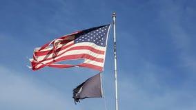 Bandeira americana destruído pela guerra Fotos de Stock Royalty Free