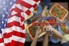 Bandeira americana, Dia da Independência, assado, celebração, fora Imagens de Stock