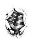 Bandeira americana do fundo através do papel Fotografia de Stock