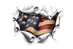 Bandeira americana do fundo através do papel Imagens de Stock Royalty Free