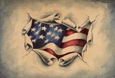 Bandeira americana do fundo através do papel Imagens de Stock
