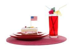 Bandeira americana e bolo Fotografia de Stock