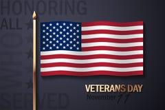 Bandeira americana e elementos decorativos dourados Imagem de Stock