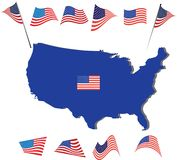 Bandeira americana e projeto EUA e mapa Fotografia de Stock