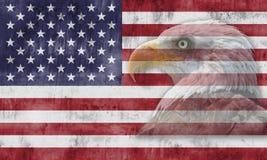 Bandeira americana e símbolos patrióticos Imagem de Stock Royalty Free