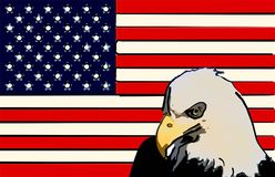 Bandeira americana estilizado Eagle fotografia de stock royalty free