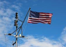 Bandeira americana marítima da bandeira dos Estados Unidos no navio Polo Imagem de Stock Royalty Free