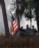 Bandeira americana na batalha Foto de Stock Royalty Free
