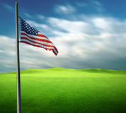 Bandeira americana na fotografia longa da exposição Imagem de Stock Royalty Free