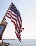Bandeira americana no barco foto de stock royalty free