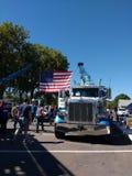 Bandeira americana no toque um evento da comunidade do caminhão, Rutherford, NJ, EUA Fotos de Stock Royalty Free