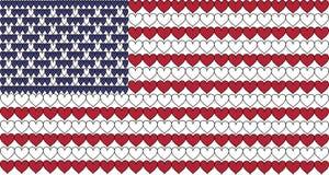 A bandeira americana nos corações Imagens de Stock Royalty Free