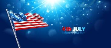 Bandeira americana que acena no céu azul Vetor Fotografia de Stock