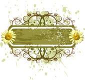Bandeira & camomiles - ornamento das flores no fundo do grunge ilustração royalty free