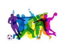 bandeira Arco-íris-colorida de silhuetas dos esportes ilustração do vetor