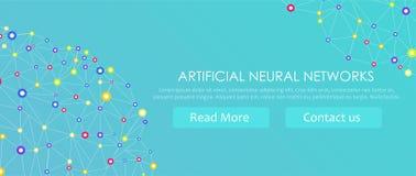 Bandeira artificial das redes neurais Um formulário do conexionismo ANNs Os sistemas de computação inspiraram pelas redes biológi Fotos de Stock