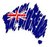 Bandeira Austrália do mapa de Vecto Fotos de Stock