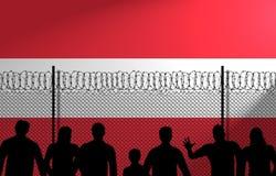 A bandeira austríaca atrás fixa a cerca ilustração royalty free