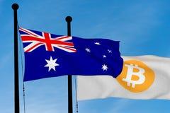 Bandeira australiana e bandeira de Bitcoin Foto de Stock