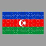 Bandeira Azeybardjan dos enigmas em um fundo cinzento ilustração royalty free