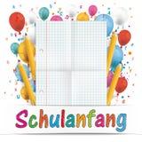 A bandeira Balloons o papel dobrado letras Schulanfang Fotografia de Stock Royalty Free