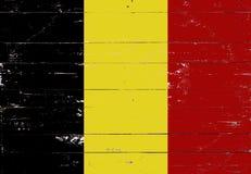 Bandeira belga pintada em uma placa de madeira Imagens de Stock Royalty Free