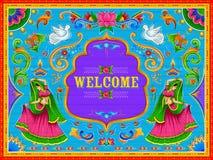 Bandeira bem-vinda colorida no estilo do kitsch da arte do caminhão da Índia ilustração do vetor