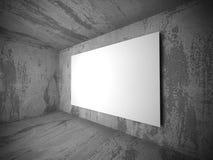 Bandeira branca vazia do cartaz na sala concreta escura Imagem de Stock Royalty Free